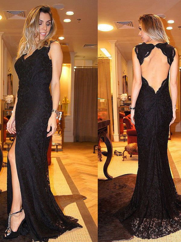 Black prom dresses Sheath Column V-neck Floor-length Tulle Prom Dress Evening Dress MK062