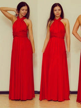 red prom dresses A-line Scoop Floor-length Chiffon Prom Dress/Evening Dress #MK065