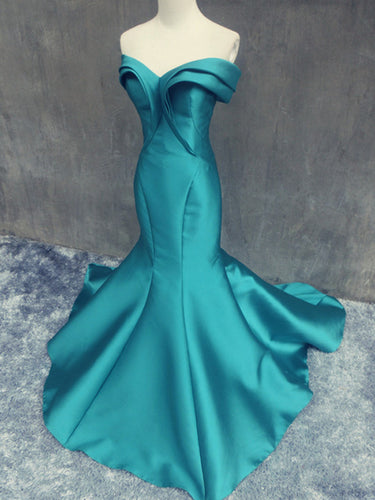 Trumpet/Mermaid Off-the-shoulder Floor-length Satin Prom Dress/Evening Dress #MK0651
