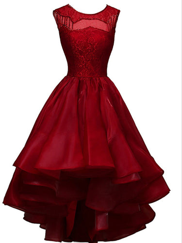 High Low Homecoming Dress A-line Bateau Lace Burgundy Short Prom Dress Party Dress MK0726