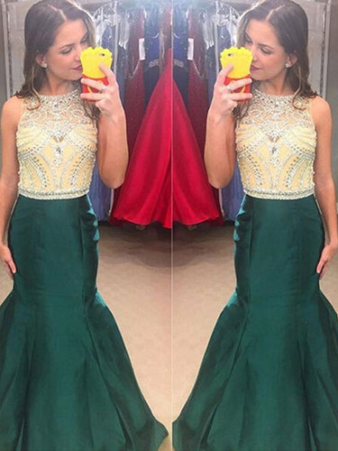 cheap prom dresses Trumpet Mermaid Scoop Floor-length Taffeta Prom Dress Evening Dress MK072