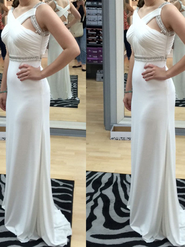 prom dresses 2017 Sheath/Column Straps Floor-length Chiffon Prom Dress/Evening Dress #MK074