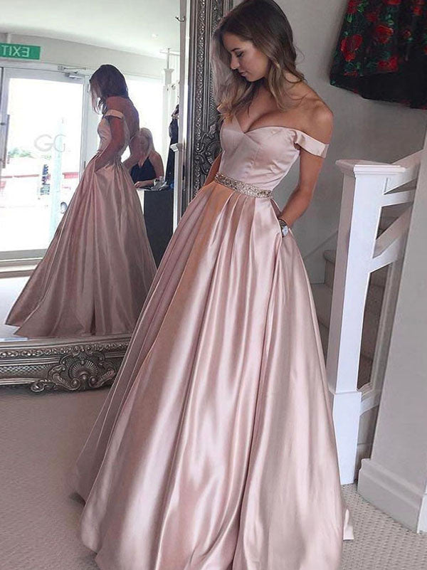 A-line Off-the-shoulder Floor-length Satin Prom Dress/Evening Dress #MK0754