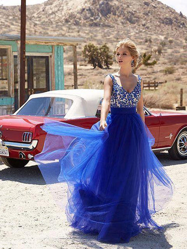 royal blue prom dresses A-line Straps Floor-length Tulle Prom Dress/Evening Dress #MK075
