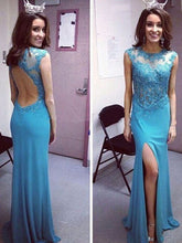 backless prom dresses Sheath/Column Scoop Floor-length Chiffon Prom Dress/Evening Dress #MK078