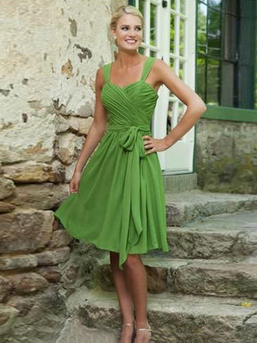 short prom dresses A-line Straps Knee-length Chiffon Homedress/Short Prom #MK079