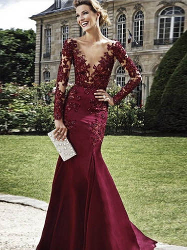 Burgundy Sheath Column V-neck Elastic Woven Satin Prom Dress Evening Dress MK083