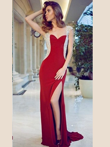 sequin prom dresses Sheath/Column Sweetheart Floor-length Chiffon Prom Dress/Evening Dress #MK086