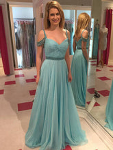 teal prom dresses A-line Spaghetti Straps Floor-length Tulle Prom Dress Evening Dress MK089