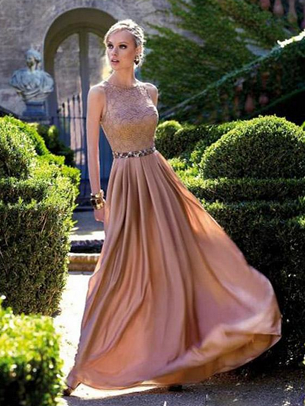 prom dresses short A-line Scoop Floor-length Chiffon Prom Dress/Evening Dress #MK091