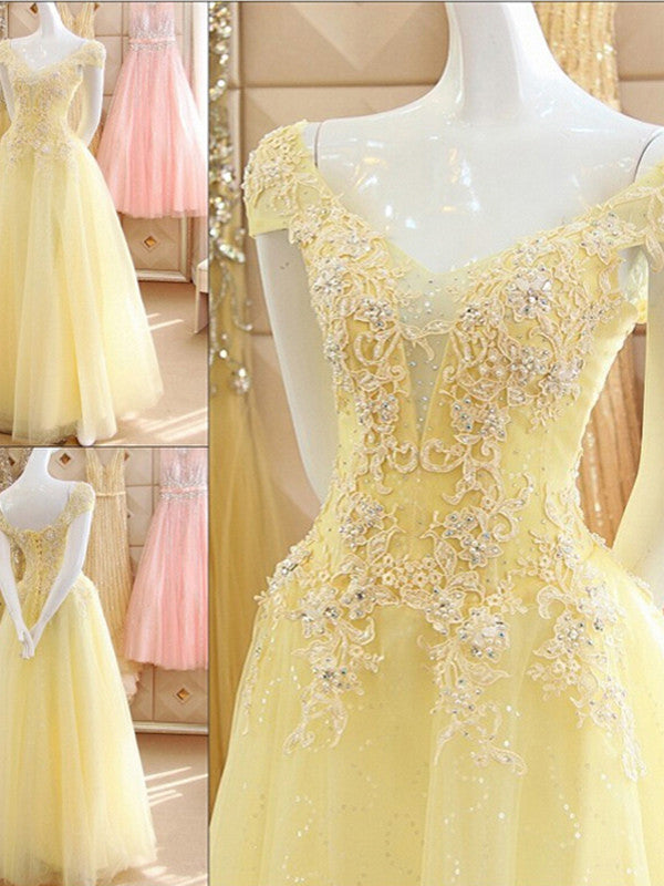 diy prom dresses A-line Off-the-shoulder Floor-length Tulle Prom Dress/Evening Dress #MK092