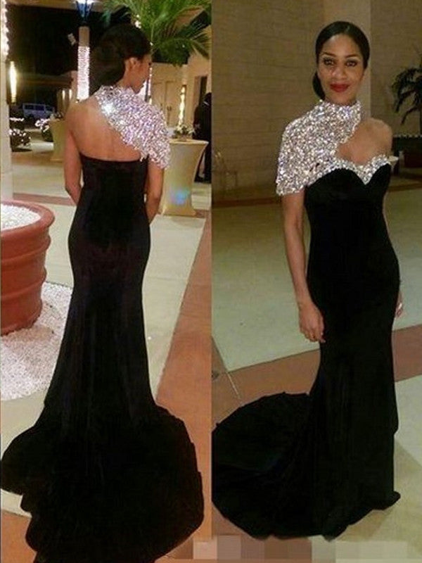 Trumpet/Mermaid One Shoulder Floor-length Chiffon Prom Dress/Evening Dress #MK0993
