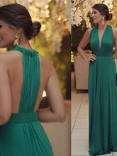A-line V-neck Floor-length Chiffon Prom Dress/Evening Dress #MK1000