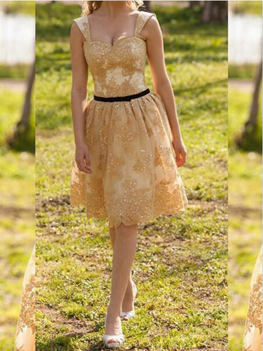 golden prom dresses A-line Straps Knee-length Tulle  Homecoming Dress Short Prom dress MK108