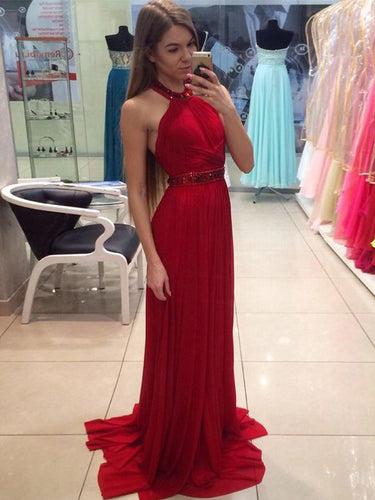 Red prom dresses A-line Halter Sweep Brush Train Chiffon Prom Dress Evening Dress MK212