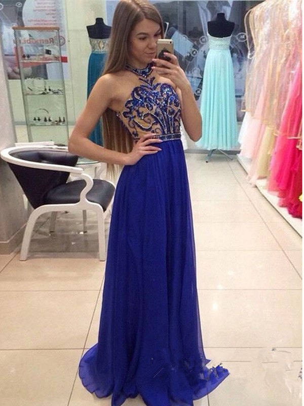 Royal Blue prom dresses A-line Halter Floor-length Chiffon Prom Dress Evening Dress MK213