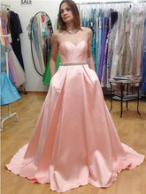 pink prom dresses A-line Sweetheart Floor-length Satin Prom Dress Evening Dress MK245