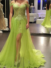 mint prom dresses Sheath Column Off-the-shoulder Asymmetrical Tulle Prom Dress Evening Dress MK250