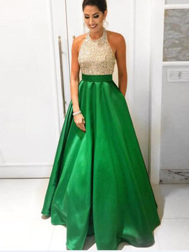 hunter prom dresses A-line Halter Floor-length Satin Prom Dress Evening Dress MK282