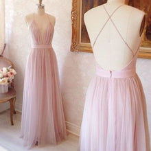 A-line V-neck Long Pink with Criss Cross Back Prom Dress Evening Dress #MK092