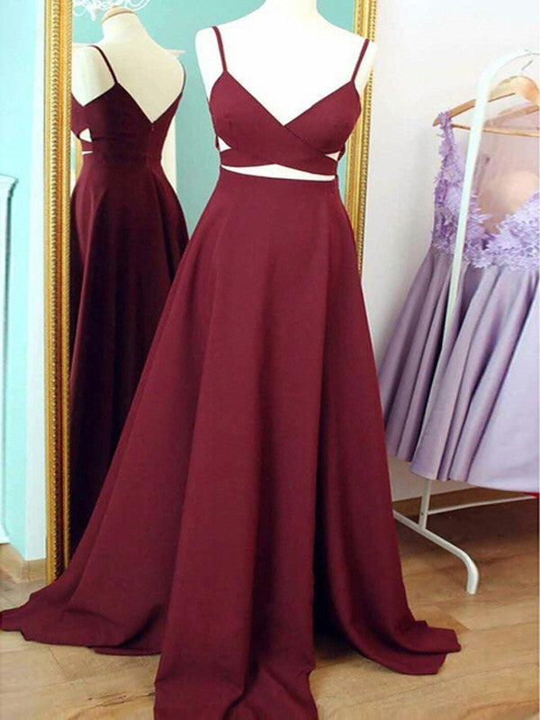Prom dress long A-line Straps Burgundy Sexy Prom Dress Evening Dress MK504