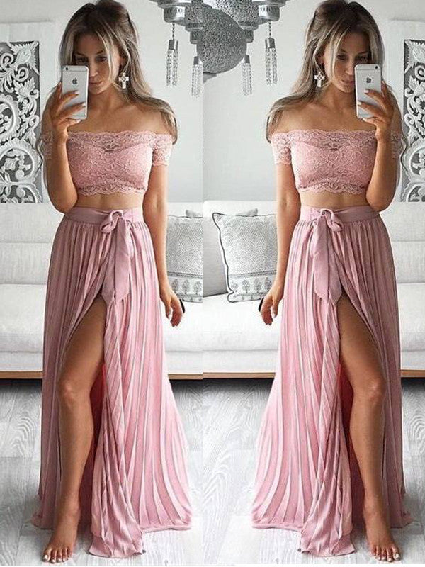 Two Piece prom dress Sexy Off the shoulder Lace Long Prom Dress Evening Dress with Side Slit MK511