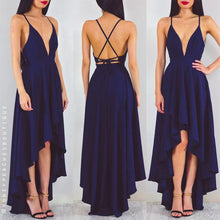 Deep V-neck High Low  Sexy Long Criss-Cross BackChiffon Prom Dress Evening Dress MK519