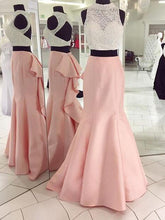 Two Piece Prom Dress Pink Mermaid Long Prom Dress Evening Dress 2017 MK522