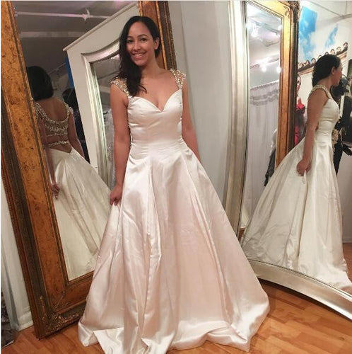 2017 Long Prom Dress A-line Beading Prom Dress Evening Dress MK526