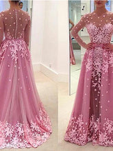A-line Appliques Long Sleeves Prom Dress/ Evening Dress,Prom Dress 2017 MK534