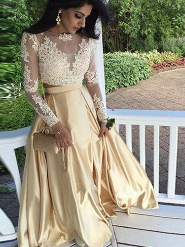 Two Piece Prom Dress 2017 Long Sleeve Prom Dress A-line Evening Dress MK536