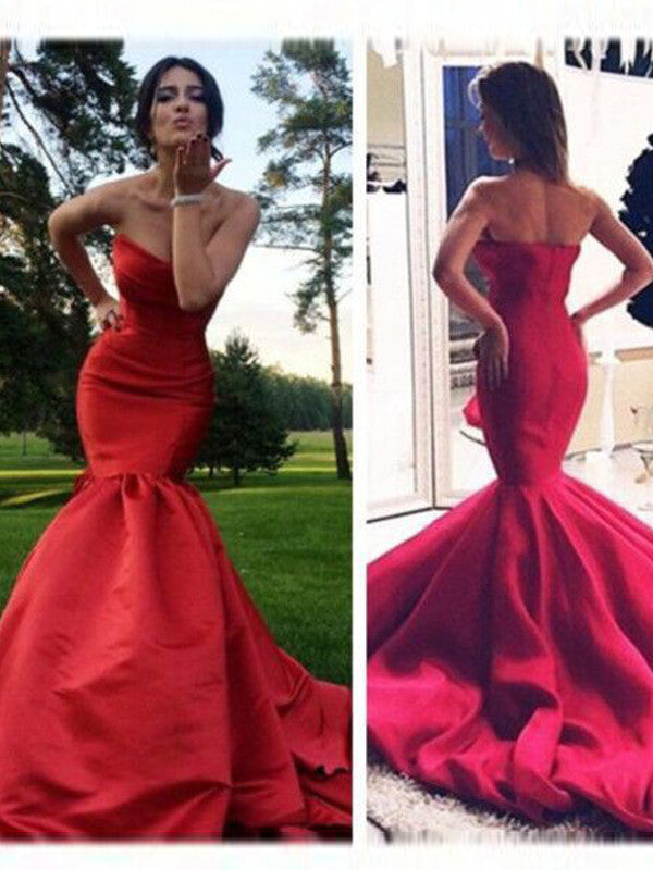 Red Long Prom Dress Strapless Mermaid Long Prom Dress Sexy Evening Dress MK541