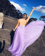 Halter Prom Dress A-line Long Lavender Tulle Prom Dress with Open Back MK543