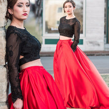 Two Piece Prom Dresses  Long SleeveProm Dress Red Prom Dress Black Lace Prom Dress Mk553