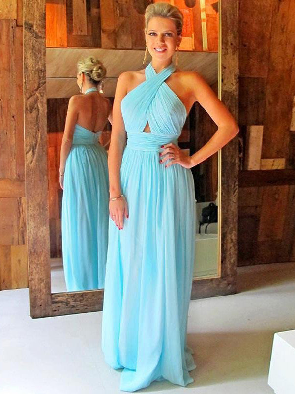 Sexy Prom Dress Light Blue Formal Dress Long Halter Backless Evening Dress Party Dress MK557