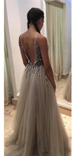 Sexy Prom Dress A-line V-neck Evening Dress Grey Prom Long Dress with Side Slit MK561
