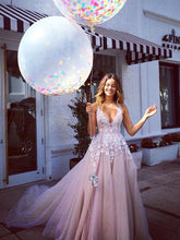 V-neck Prom Dress A-line Tulle Long Prom Dress Evening Dress MK566