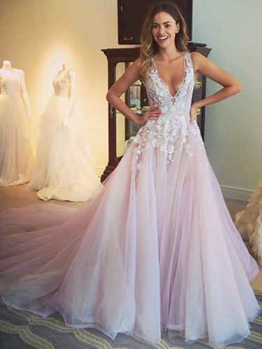 Romantic Prom Dress A-line Appliques Long Prom Dress Evening Dress MK567