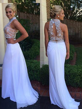 2017 White Prom Dress,Two pieces Prom Dress Rhinestones Evening Dress Long Formal Dress MK569