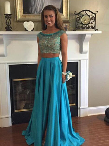 Two Pieces Prom Dress A-line Short Sleeve Long Prom Dress/Evening Dress MK581