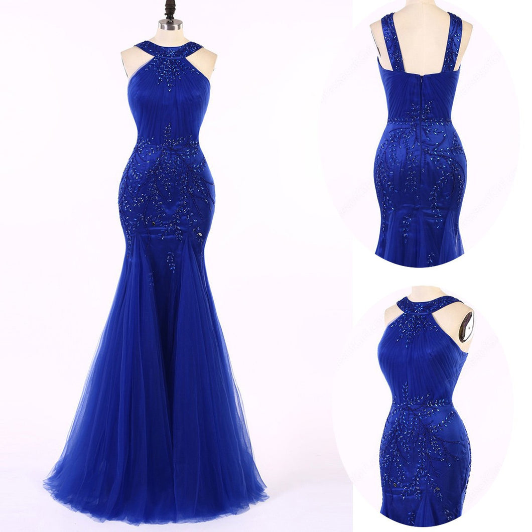 Royal blue prom dress 2017 Long Prom Dress Beading Sequins Mermaid Prom Dress/Evening Dress MK593