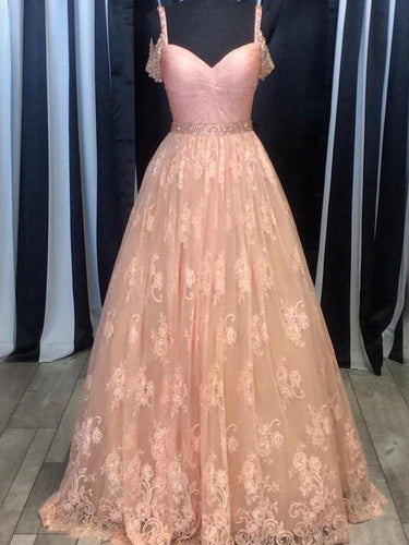 Lace prom dress 2017 Long Prom Dress A-line Beading Prom Dress/Evening Dress MK529