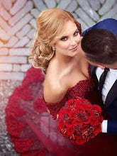 Red Prom Dress Tulle Beautiful Appliques Off-the-shoulder Mermaid Prom Dress/Evening Dress MK597