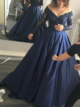 Long Sleeve prom dress A-line Floor Length Appliques Prom Dress/Evening Dress MK598
