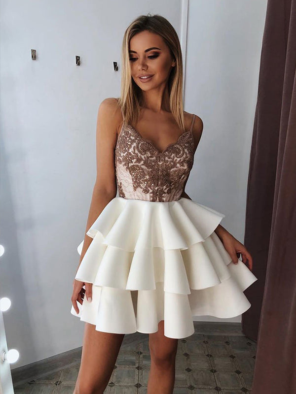 Spaghetti Straps Appliques for Teens Homecoming Dress Sexy V Neck Short Prom Dress NA6901|Annapromdress