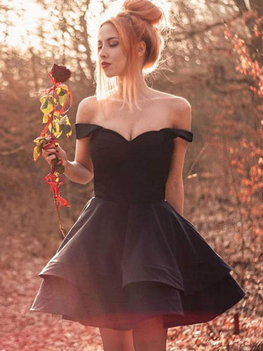 Off the Shoulder Ball Gown Black Simple Homecoming Dress V-Neck  Short Prom Dress NA6904|Annapromdress