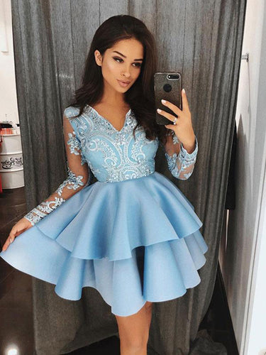 Blue Cheap Homecoming Dress with Long Sleeves Appliques V neck Short Prom Party Dress NA6906|Annapromdress