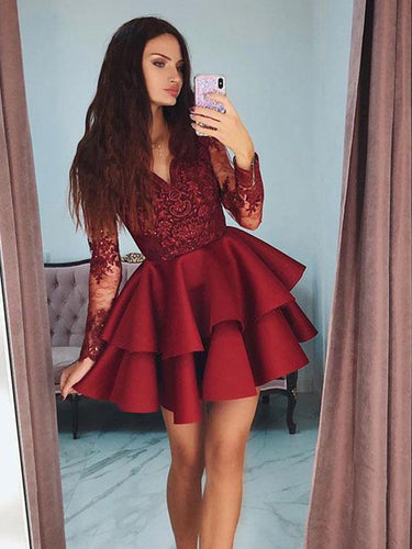 Long Sleeve Homecoming Dress A-line Appliques Short Prom Dress Fashion Party Dress NA6907|Annapromdress