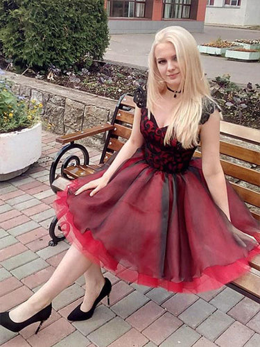 Cap Sleeve Homecoming Dress A Line Black and Red Prom Dress Short Fashion Party Dress NA6908|Annapromdress