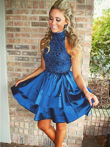 Chic Homecoming Dress High Neck Rhinstone Short Prom Dress Satin Party Dress NA6911|Annapromdress